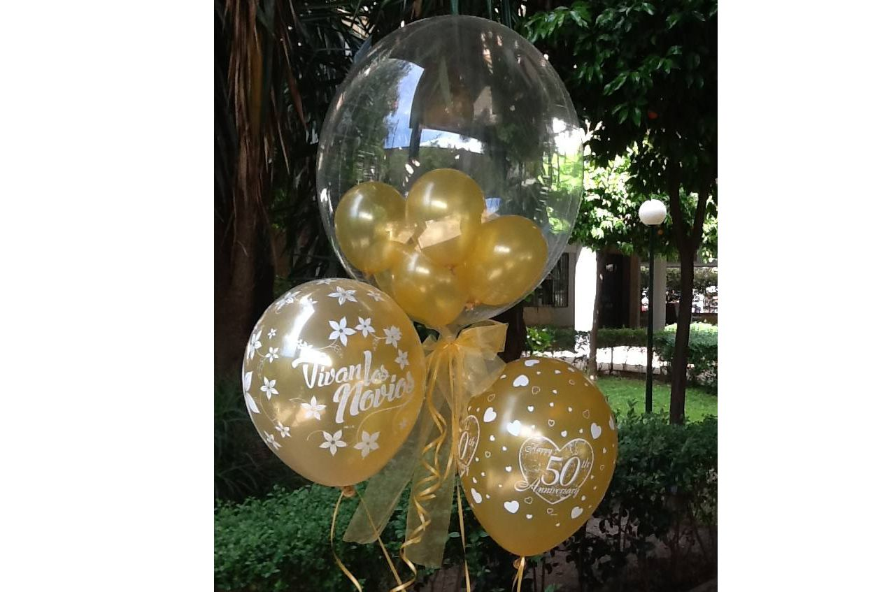 Decoración con globos golden