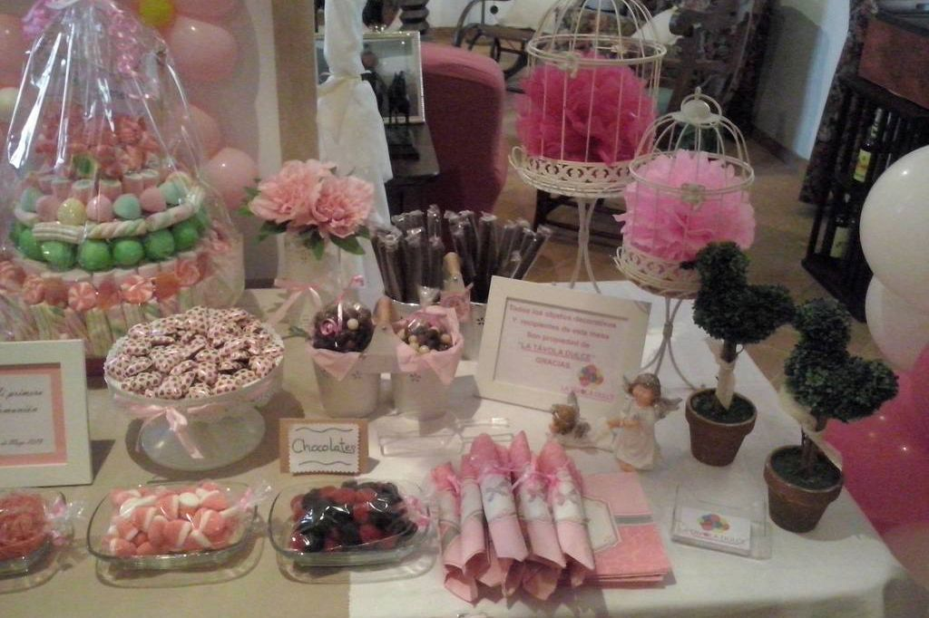 Candy bar rosa decoración