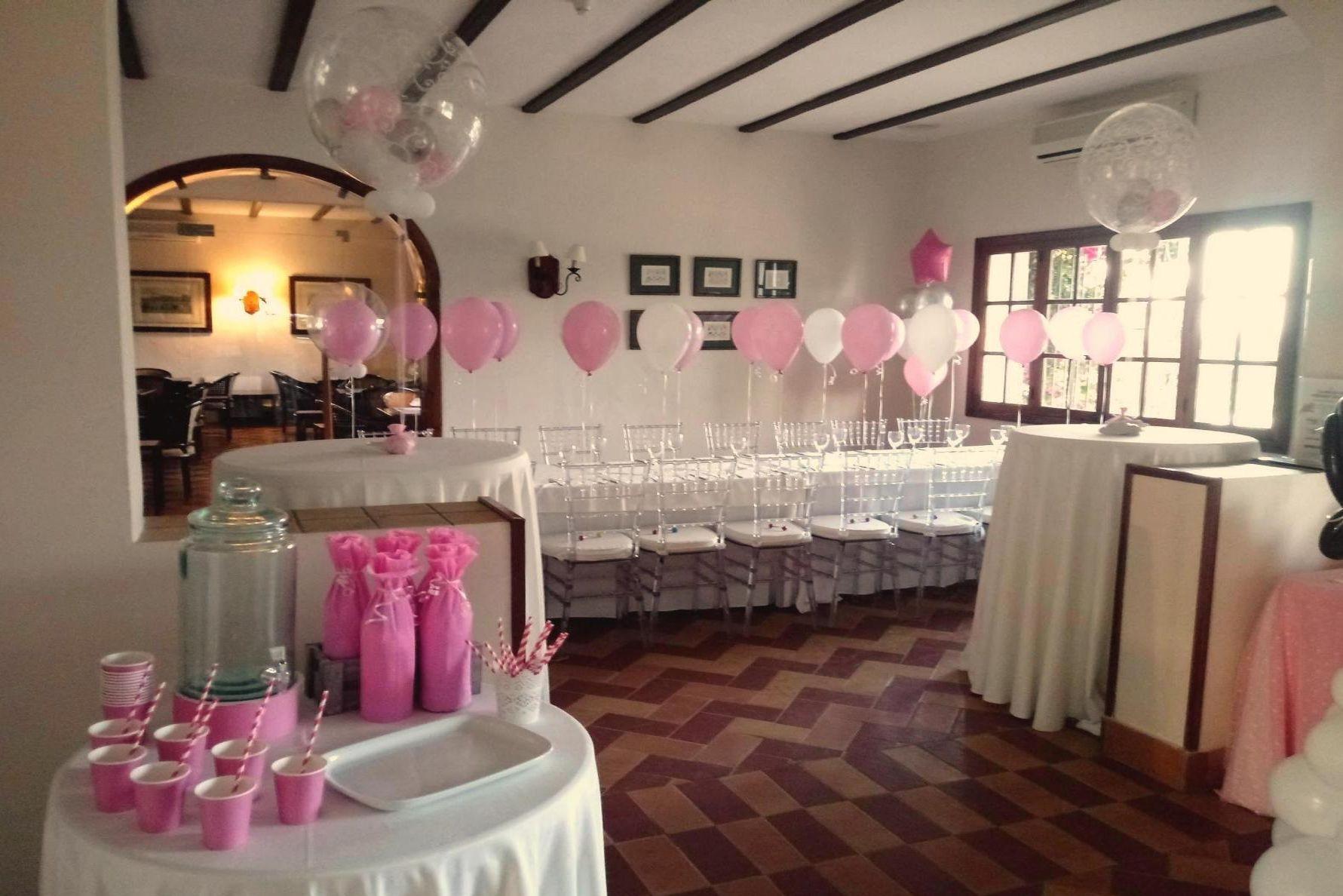 Globos rosa y blanco evento